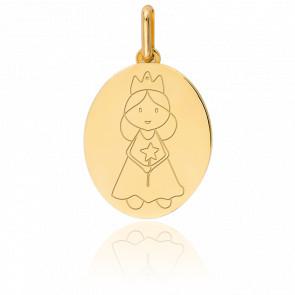 Médaille Fée couronnée, Or jaune 9 ou 18K - Lucas Lucor