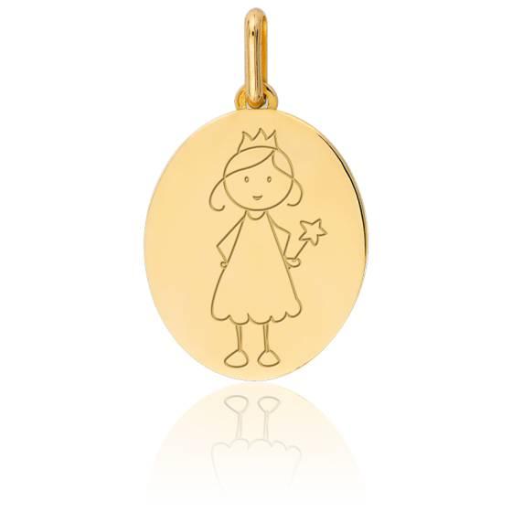 Médaille ma Fée, Or jaune 9 ou 18K - Lucas Lucor