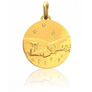 Médaille Petit Prince étoilé couché dans l'herbe, Or jaune 18K - Monnaie de Paris