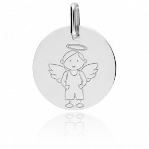 Médaille My Angel Garçon, Or Blanc 9K - Lucas Lucor
