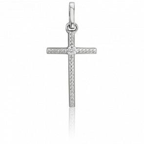 Pendentif Croix diamantée, Or Blanc 18K - Joelli