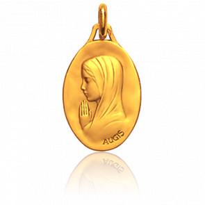 Médaille Vierge en prière, de profil, Or jaune 18K - Augis