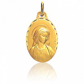 Médaille Vierge auréolée, bord facetté, Or jaune 18K - Augis