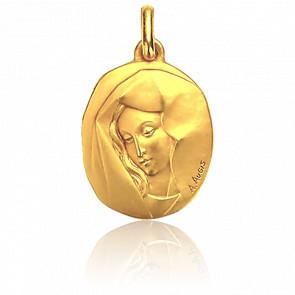 Médaille Vierge au voile, pensive, Or jaune 18K - Augis