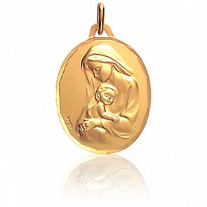 Médaille Vierge à l'Enfant, ovale, Or jaune 18K - Augis