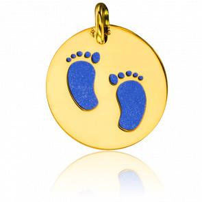 Médaille pieds d'enfant, Or jaune 18K et acier bleu - Lucas Lucor