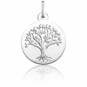 Médaille Arbre de Vie en relief, Or blanc 18 carats - Argyor