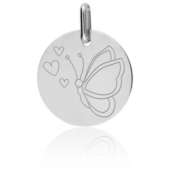 Médaille Papillon aux coeurs, Or blanc 18K - Lucas Lucor