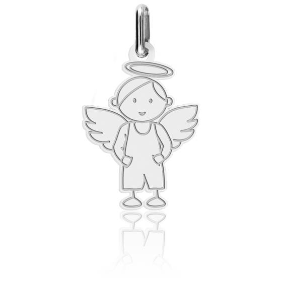 Pendentif ange petit garçon, Or blanc 18K - Lucas Lucor