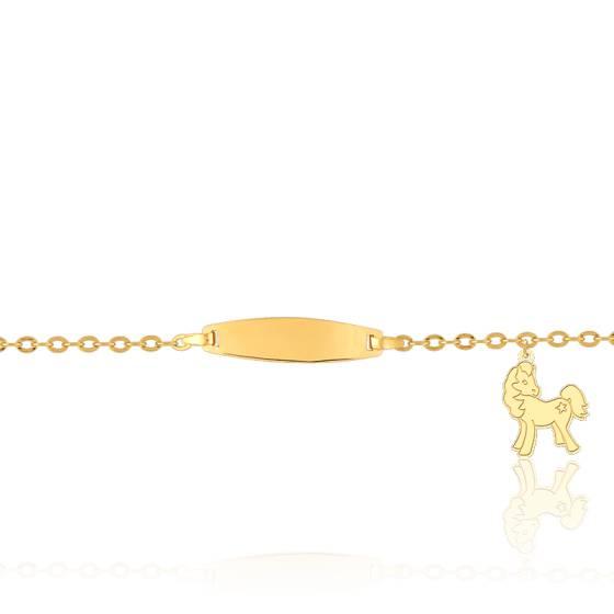 Gourmette bébé breloque cheval, Or jaune 18K - Lucas Lucor