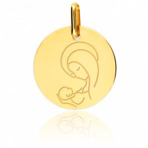 Médaille Vierge à l'enfant stylisée, Or jaune 18K - Lucas Lucor