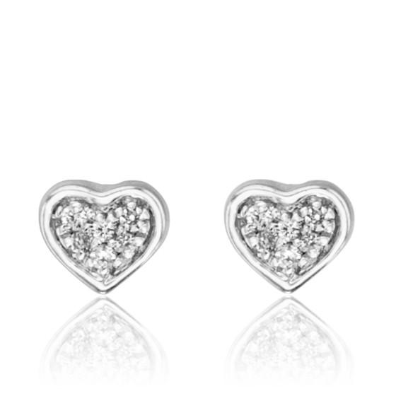 Boucles d'oreilles coeur, Or blanc 18K et diamants - Juweel