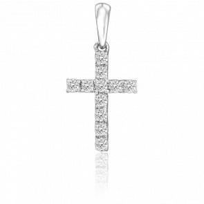 Croix pavée, Or blanc 18K & diamants - Juweel