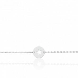 Gourmette étoile ajourée, Or blanc 18 carats - Lucas Lucor