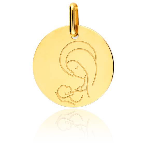 Médaille Vierge à l'enfant stylisée, Or jaune 9K - Lucas Lucor
