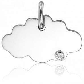 Pendentif nuage, Or blanc 18 carats et diamant - Argyor