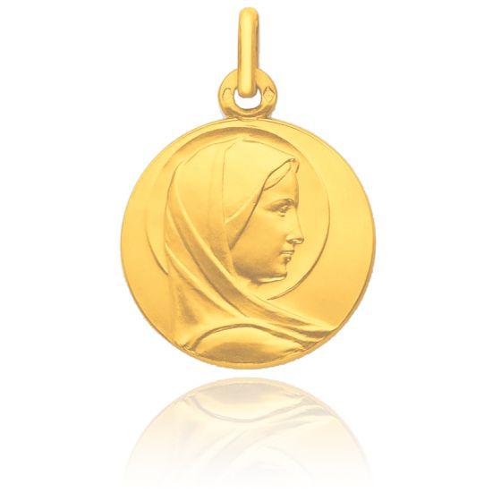 Médaille Vierge de profil auréolée, Or jaune 18K - Pichard-Balme