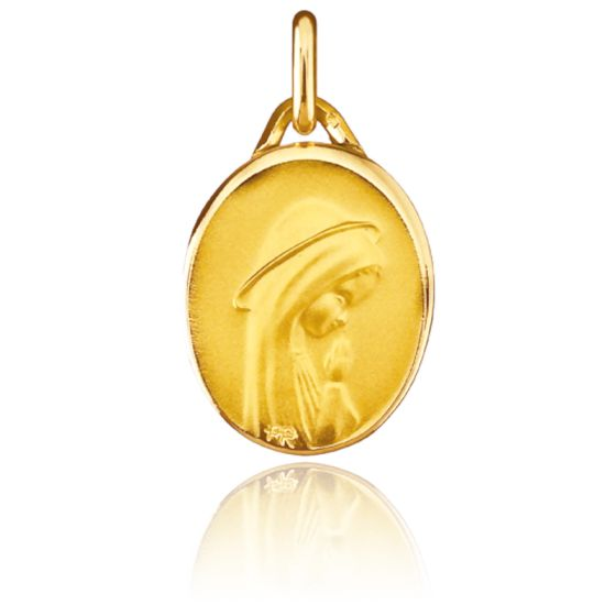 Médaille Vierge Moderne, ovale, Or jaune 18K - Pichard-Balme