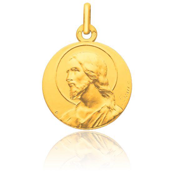 Médaille Christ auréolé de profil, Or jaune 18K - Pichard-Balme