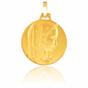 Médaille Vierge au Voile Etoilé, Or jaune 9K - Pichard-Balme