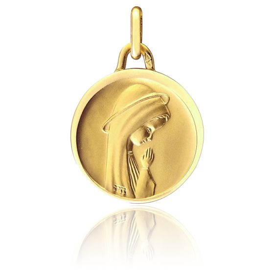 Médaille Vierge moderne ronde, Or jaune 18K - Pichard-Balme