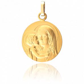 Médaille Vierge à l'Enfant au Bouquet, Or jaune 18K - Pichard-Balme