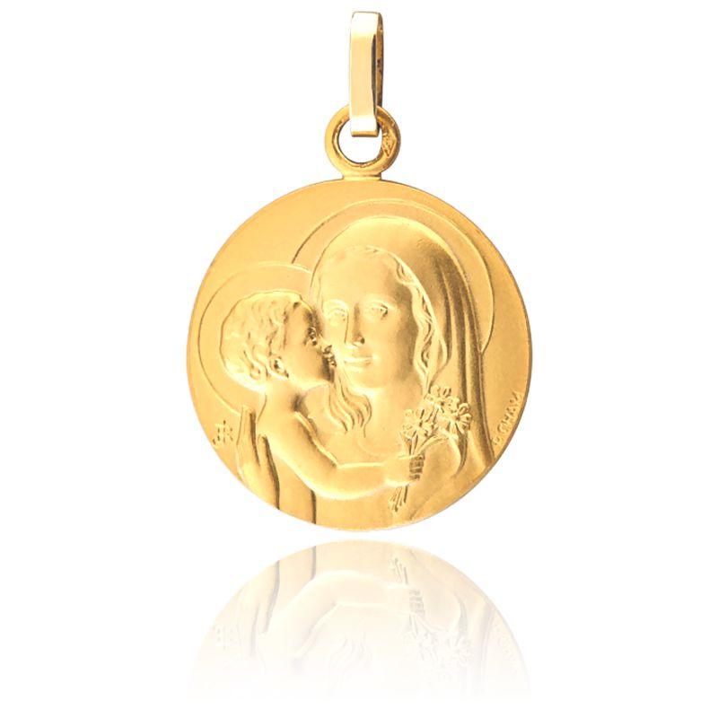 Très Médaille Vierge à l'Enfant au Bouquet Or Jaune - Pichard OJ15