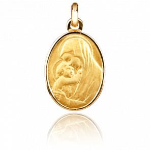 Médaille Vierge Adorante, ovale, Or jaune 18k - Emanessence