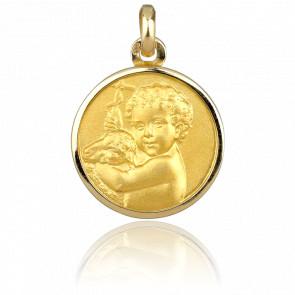 Médaille Ange Enfant et Agneau, Or jaune 18K - Emanessence