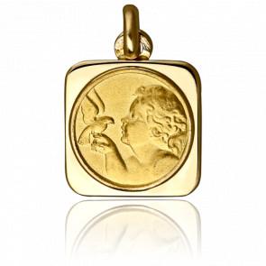 Médaille Ange à la Colombe, carrée, Or jaune 18K - Emanessence