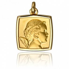 Médaille Chérubin, carrée, Or jaune 18K - Emanessence