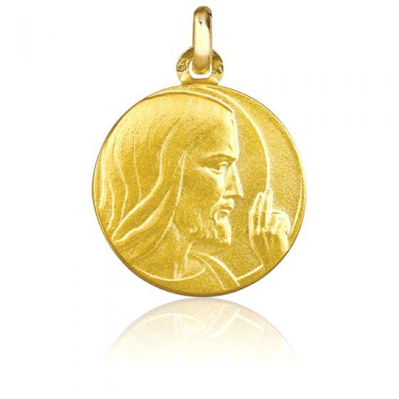 Médaille Christ Bénissant, Or jaune 18K - Emanessence