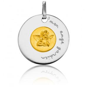 Médaille Mon Ange Gardien Bicolore Or Jaune & Blanc 18K - Pichard-Balme