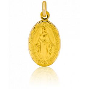 Médaille Miraculeuse, bord fleuri, Or jaune 18K - Pichard-Balme