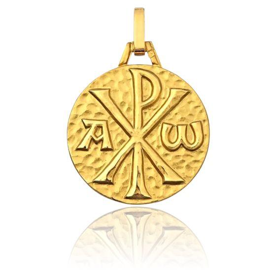 Médaille Chrisme Martelée, Or jaune 9K - Pichard-Balme