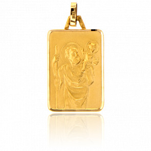 Médaille Saint Christophe, rectangle, Or jaune 18K - Pichard-Balme
