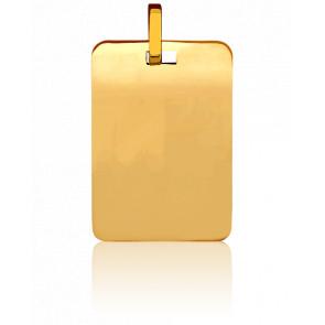 Médaille rectangulaire à graver, Or jaune 18K - Pichard-Balme