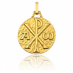 Médaille Chrisme, martelé & brillant, Or jaune 18K - Pichard-Balme