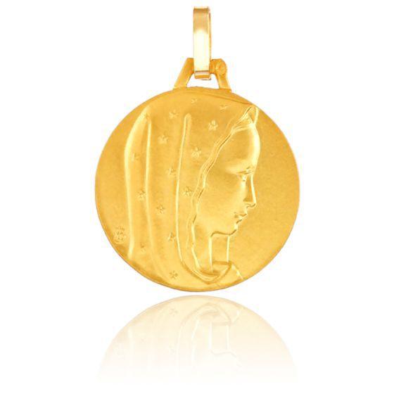 Médaille Vierge au Voile Etoilé, Or jaune 18K - Pichard-Balme