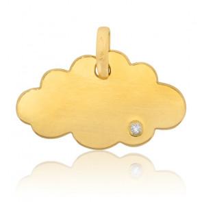Pendentif nuage, Or jaune 18 carats et diamant - Bambins