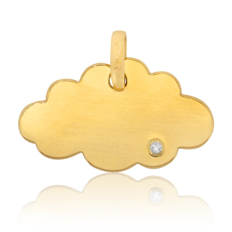 pendentif nuage or jaune 18 carats et diamant bambins. Black Bedroom Furniture Sets. Home Design Ideas