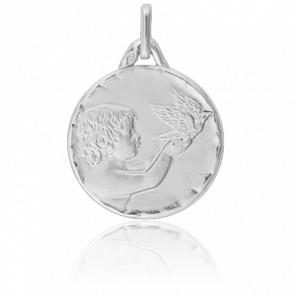 Médaille Ange à la Colombe, Or blanc 18K - Lucas Lucor