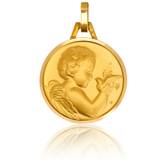 Médaille Ange à la Colombe, Or jaune 18K - Pichard-Balme
