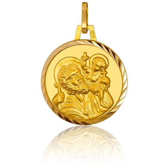 Médaille Saint Christophe, bord facetté, Or jaune 18K - Pichard-Balme