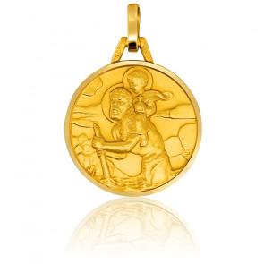 Médaille Saint Christophe, bord poli, Or jaune 18K - Pichard-Balme
