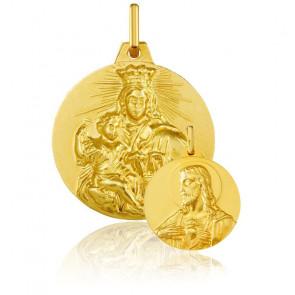 Médaille réversible Vierge à l'enfant et Christ, Or Jaune 18K - Argyor