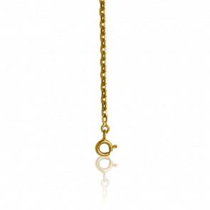 Chaîne maille forçat diamantée, Or jaune 9 carats, 60 cm