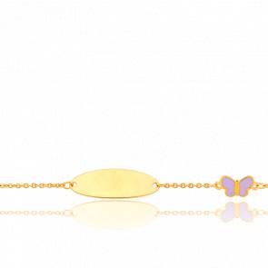 Gourmette enfant papillon, Or jaune 9 carats - Bambins