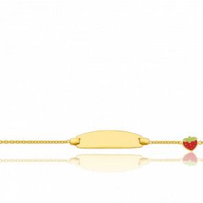 Gourmette bébé fraise, Or jaune 9 carats - Bambins
