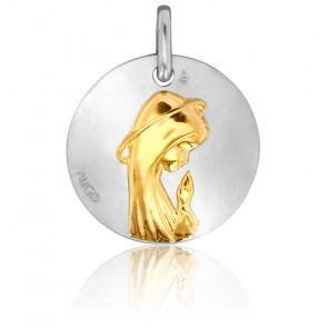 Médaille Vierge de Profil, Or Jaune & Blanc 18K - Augis